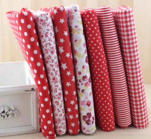 Fat Quarters Quilting Fabric 7 Bundles for Patchwork sewing Red Floral Cotton $15.99