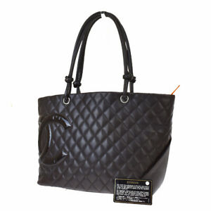 Authentic CHANEL CC Logo Cambon Tote Shoulder Bag Leather Black Italy 46BS599 $1390.40