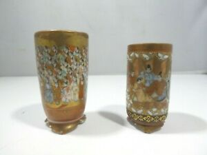 ANTIQUE HIGHLY DETAILED JAPANESE SATSUMA SAKI CUPS