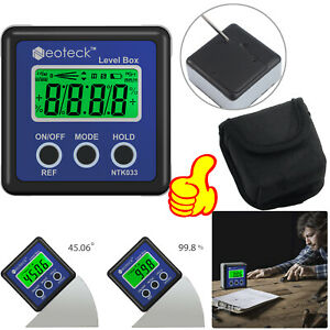4*90° Magnetic Digital Protractor Angle Finder Bevel Level Box Inclinometer LCD $22.50