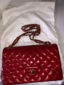 CHANEL Classic Jumbo Quilted Red Lambskin Double Flap Bag gold cc instagrm $5899.00