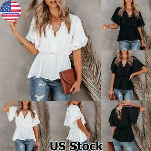 Women Summer Lace Trim V Neck Short Sleeve Tops T Shirt Casual Tunic Blouse Tee