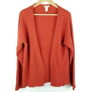 Sundance Lambswool Blend Cardigan Open Front Speckled Ribbed Hems Size Large $57.12