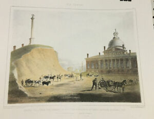 Old Boston Lithograph Print Beacon Hill Hancock and Temple $49.95