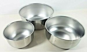 Set of 3 Stainless Steel Mixing Bowl Set Piece Nesting