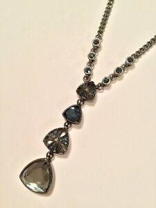 Givenchy Designer Signed Gunmetal with Gray Blue Crystal Y Necklace $25.00