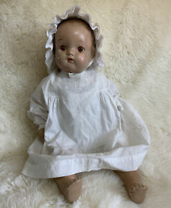 "Vintage Composition Baby doll Soft Body Orange Eyes 24"" Antique in Gown"