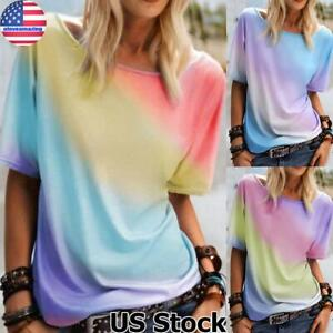 Women#x27;s Gradient Short Sleeve T Shirt Tops Ladies Casual Baggy Tunic Blouse Tee
