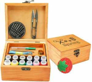 Sewing Kit Basket with Accessories Mini Wooden Box for $20.04