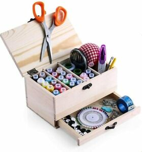 Professional Wooden Sewing Basket Set with Box Premium $20.34