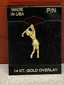 14KT Gold Overlay Small Outdoor Sporting Goods Female Golfer Tac Pin New