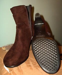 Aerosoles Ankle Boots Toe Zip Brown raunched Suede Womens Booties Shoes Size 8B $25.99