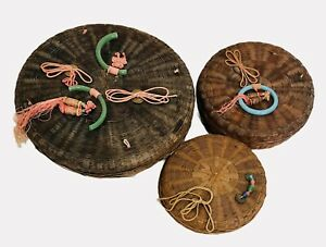 3 Vintage Woven Wicker Sewing Baskets Round Lids Chinese Tokens Beads $24.99