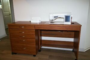 Designer Ruby Huqvarna Viking Sewing Embroidery Machine and sewing cabinet $1200.00