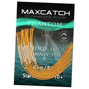 Maxcatch Fishing Braided Leader Loop Connectors 30 for Fly Fishing 50lb Orange