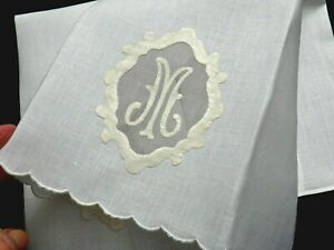 Madeira Embroidery Linen Guest Towels 2 19x13quot; quot;Mquot; Monogram on Organdy VINTAGE $29.95
