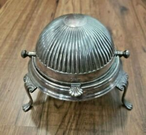 Vintage EPNS Made in Sheffield England Silver Plated Roll Top Domed Butter Dish $50.00