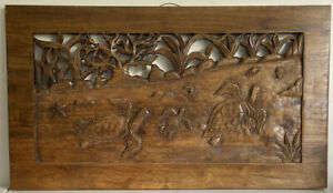 Sea Turtles Carved Wood Relief Wall Panel $75.00