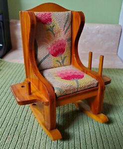 Vintage Small ROCKING CHAIR SEWING WOOD PIN CUSHION Spool Thread Holder $14.99