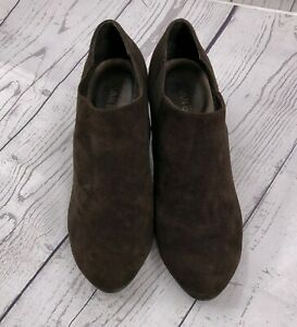 Van Eli Womens Booties Boots Shoes Size 10 Brown Suede Chunky 2.5 Heel Pull on $19.97