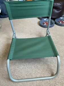 Vintage Green Folding Low Beach Chair Lightweight Camping Fishing Seat