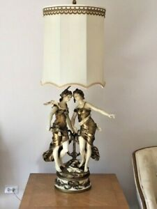 Antique Auguste Moreau French Maidens Large Cast Table Lamp Figural Collection