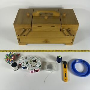 Vintage wooden sewing box case storage fold out accordion w supplies $66.60