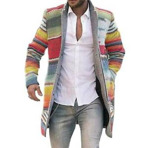 Men Striped Knitted Cardigan Sweater Warm Long Jacket Trench Coat Casual Outwear $43.12