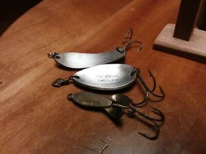 3 Vintage Fishing Lure Spoon Swiss Made Kneubuhler Spinning and Lemax style