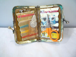 Vintage Black Leather Metal Snap Pouch Purse Travel Sewing Kit FREE SHIP $5.95