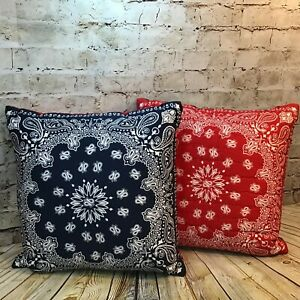 Levis x Target Limited Edition 18 x 18 Blue and Red Bandana Throw Pillows 2