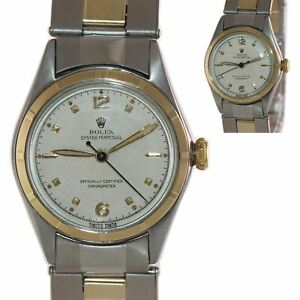 VTG Rolex Oyster Perpetual Two Tone Bubbleback 5007 29mm White Dial Watch $1792.13