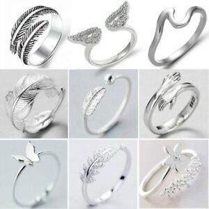 925 Silver Crystal Heart Feather Knuckle Ring Open Zircon Ring Women Adjustable C $1.31