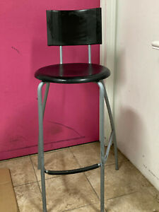 IKEA Black Bar Stool with Back and Foot Rest