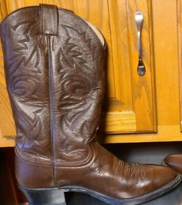 JUSTIN BOOTS Brown Leather Cowboy Men#x27;s Size 10 D Style 1450 FREE SHIPPING