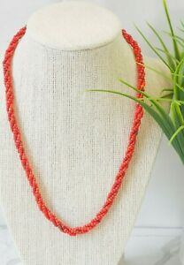 Vintage red seed bead triple twist 18in necklace with button closure $9.99