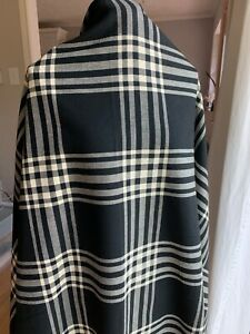 Vintage Fabric Plaid Black and Cream Ivory 1.25 yards Sewing Bags Skirt Crafts $15.00