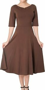 Marycrafts Women#x27;s Fit Flare Tea Midi Dress for Office Business Work