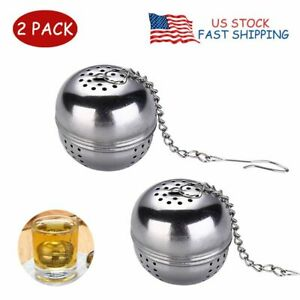 2X Tea Strainer Mesh Ball Tea Infusers with Extended Chain Brew Loose Tea Spices