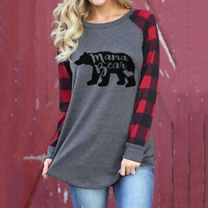 Women#x27;s Mama Bear letter printed round neck Cotton Loose Long Sleeve T shirt