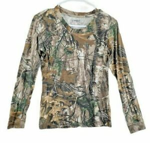 Magellan Outdoors Womens Hunting T Shirt Brown Green Camouflage Long Sleeve S