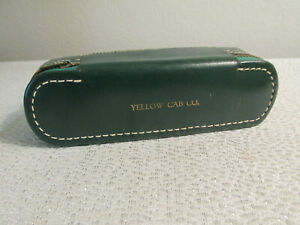 VINTAGE SEWING KIT WITH BRUSH GREEN LEATHER ZIP AROUND YELLOW CAB COMPANY LOGO $27.00