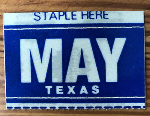 1980s 1990s Texas License Plate Sticker Month May