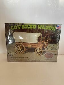 Vintage 1977 Covered Wagon Wooden Kit AllWood Brand USA Made collectible rare $44.99