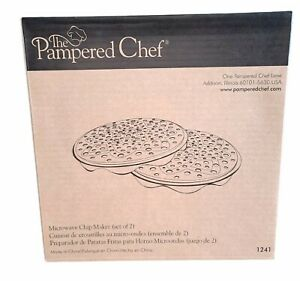 Pampered Chef Set Of 2 Microwave Chip Maker. Original Box Directions