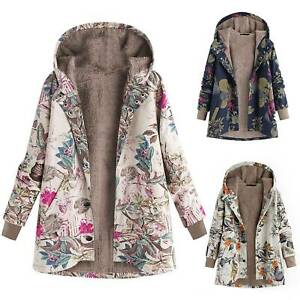 Women Winter Floral Print Thick Jumper Hooded Coat Jacket Top Outwear Plus Size $49.29