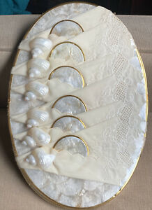 Set 6 Capiz Shell Mother of Pearl Oval Placemats Coasters Napkin Rings Gold Trim