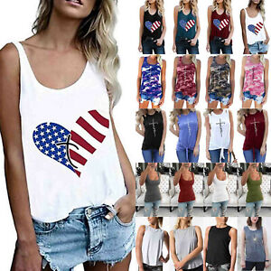 Womens Sleeveless Tank Tops Blouse Ladies Casual Vest Summer Sports Cami T Shirt $8.92