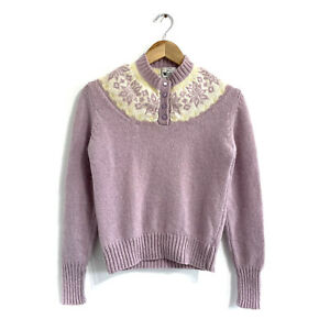 Vintage Woolrich fair isle sweater Womens XS purple Pure wool Pastel Buttons $28.99