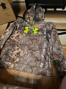 UNDER ARMOUR COLD GEAR HoodieLargePulloverFull Realtree CamoMint Cond $20.00